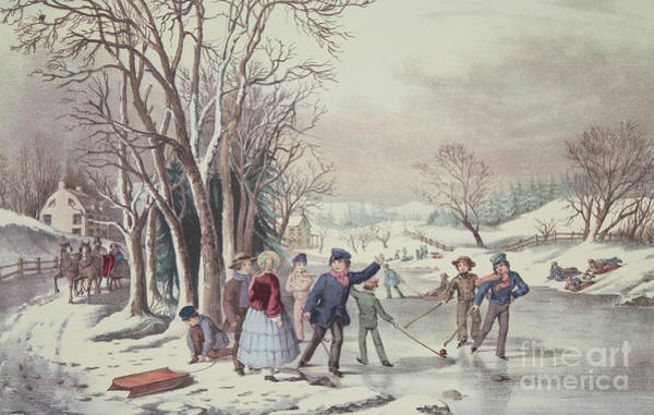 Skating Painting - Winter Pastime by Currier and Ives