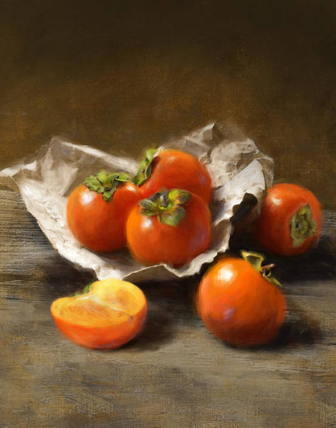 Fruit Still Life Wall Art - Painting - Winter Persimmons by Robert Papp