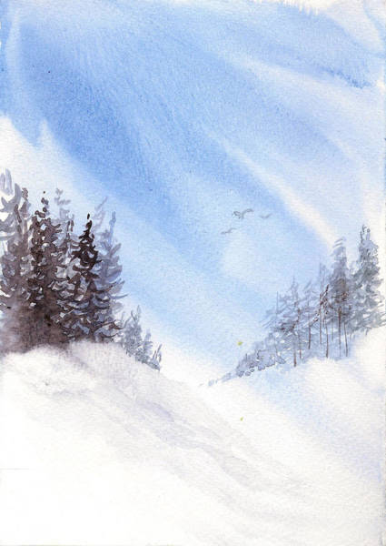 Painting - Winter Pines by Asha Sudhaker Shenoy