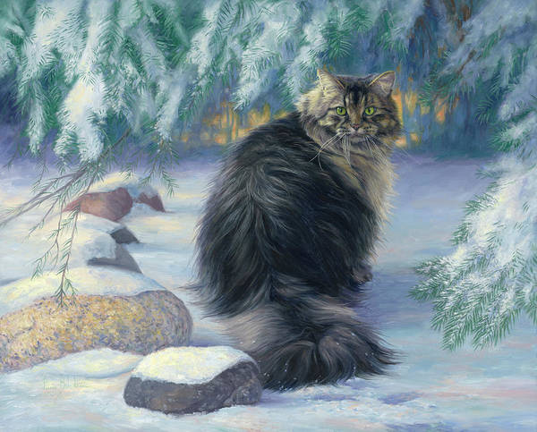 Domestic Cat Wall Art - Painting - Winter Place by Lucie Bilodeau