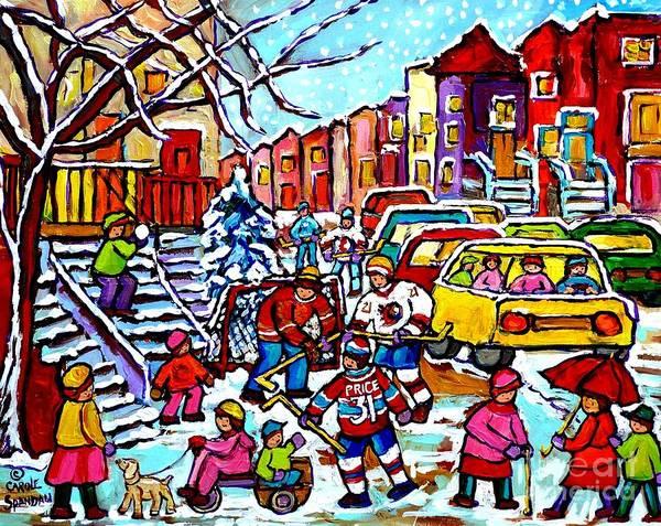 Painting - Winter Playground Montreal Hockey Kids Street Hockey Street Scene Painting Carole Spandau by Carole Spandau
