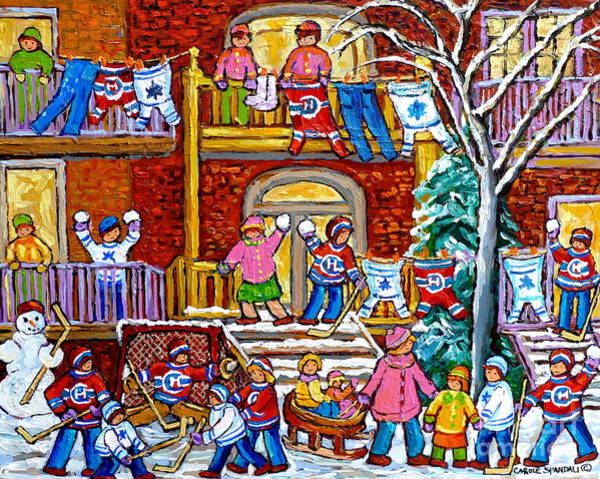 Painting - Winter Playground Neighborhood Street Hockey Jerseys Wash Day Duplex Porches Montreal Memories Art by Carole Spandau