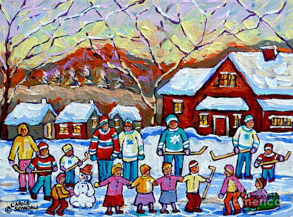 Painting - Winter Playground Painting By Canadian Hockey Art Specialist Carole Spandau Skating Sledding Snowman by Carole Spandau