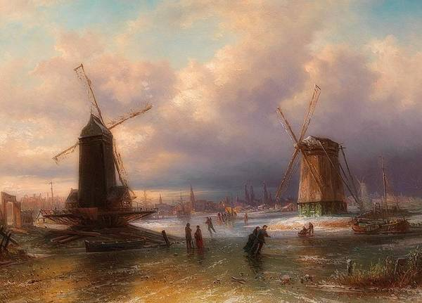 Figure Skater Painting - Winter Pleasures On The Ice Outside A Dutch Town by Elias van Bommerl