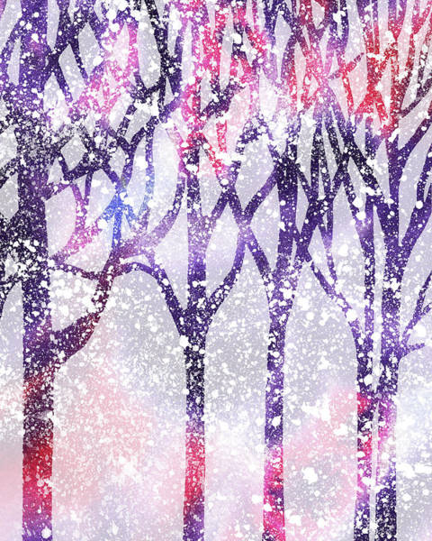 Painting - Winter Purple Forest Silhouette by Irina Sztukowski
