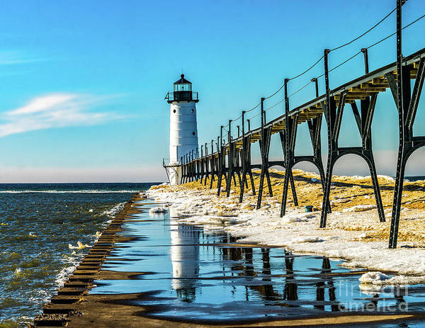Photograph - Winter Reflection At Manistee Light by Nick Zelinsky