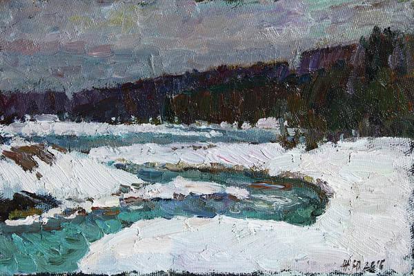 Wall Art - Painting - Winter River by Juliya Zhukova