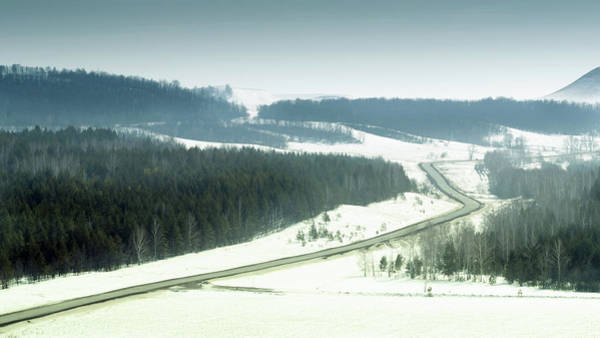 Photograph - Winter Road And Forests In Colour by John Williams