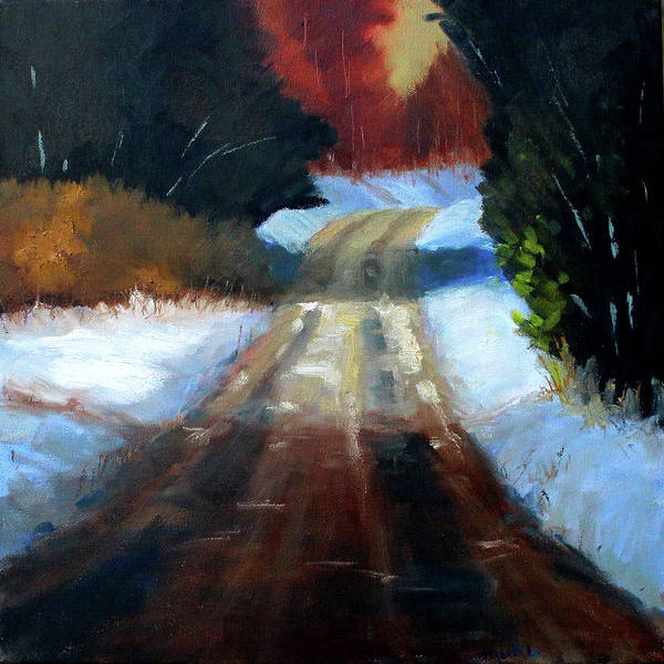 Wall Art - Painting - Winter Road Landscape by Nancy Merkle