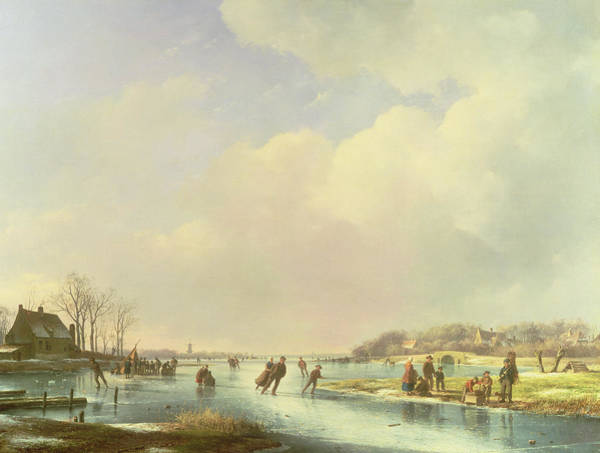 Figure Skater Painting - Winter Scene by Andreas Schelfhout