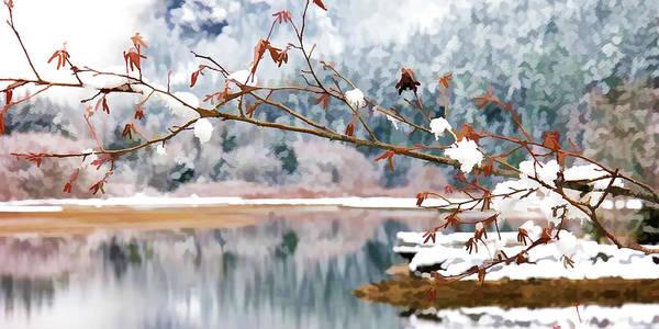 Skagit Valley Painting - Winter Scene At Diablo Lake by Jeelan Clark