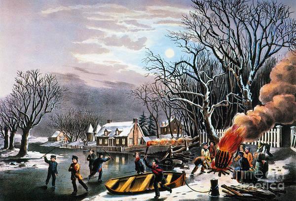 Painting - Winter Scene: Evening 1854 by Granger