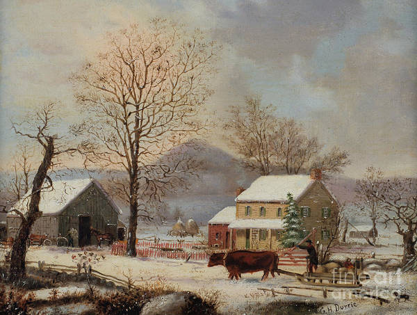 Barn Snow Painting - Winter Scene by George Henry Durrie