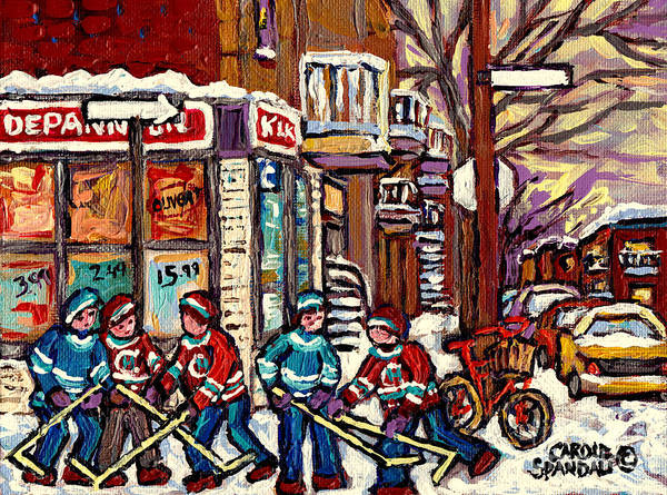 Painting - Winter Scene Hockey Painting Verdun Depanneur Kik Cola Bicycle Montreal Canadian Art Carole Spandau  by Carole Spandau