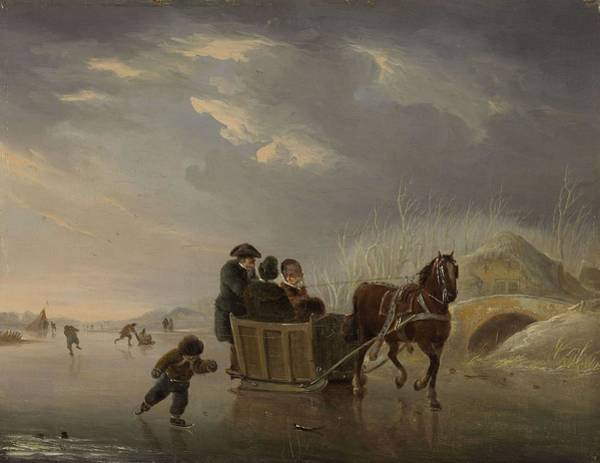 Painting - Winter Scene Horse-sleigh On The Ice   Andries Vermeulen 1790  1814 by Artistic Panda