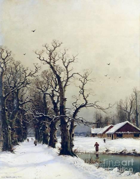 Barn Snow Painting - Winter Scene by Nils Hans Christiansen