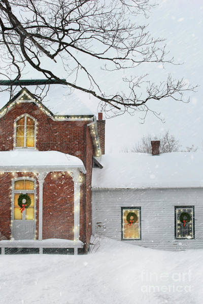 Photograph - Winter Scene Of A A Farmhouse With Holiday Lights by Sandra Cunningham