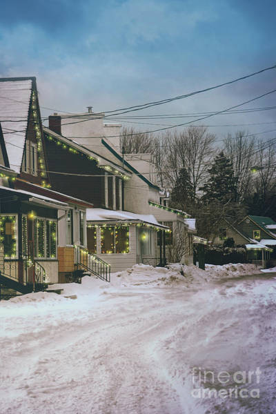 Photograph - Winter Scene Of A Row Of Houses With Lights by Sandra Cunningham