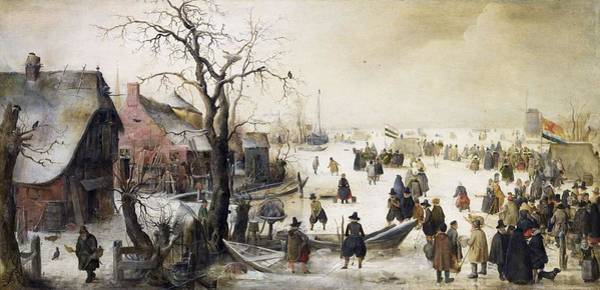 Painting - Winter Scene On A Canal By Hendrick Avercamp by Artistic Panda