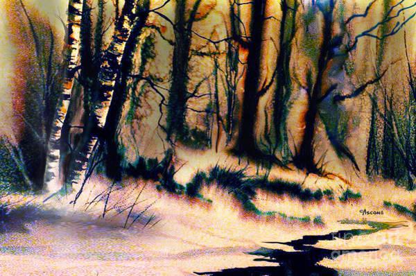 River Scene Mixed Media - Winter Scene by Teresa Ascone