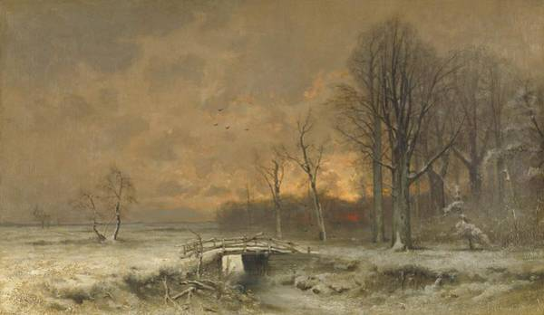 Painting - Winter Scene With Setting Sun by Movie Poster Prints