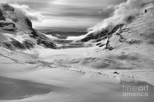 Photograph - Winter Shadows Below The Athabasca Glacier Black And White by Adam Jewell