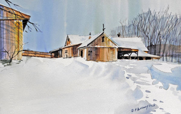 Barn Snow Painting - Winter Shadows by P Anthony Visco
