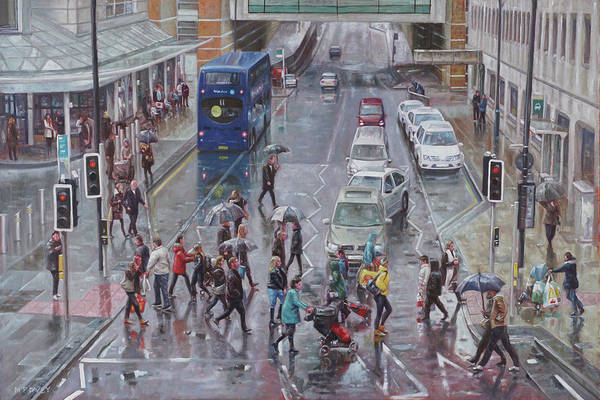 Wall Art - Painting - Winter Shopping Season Southampton by Martin Davey