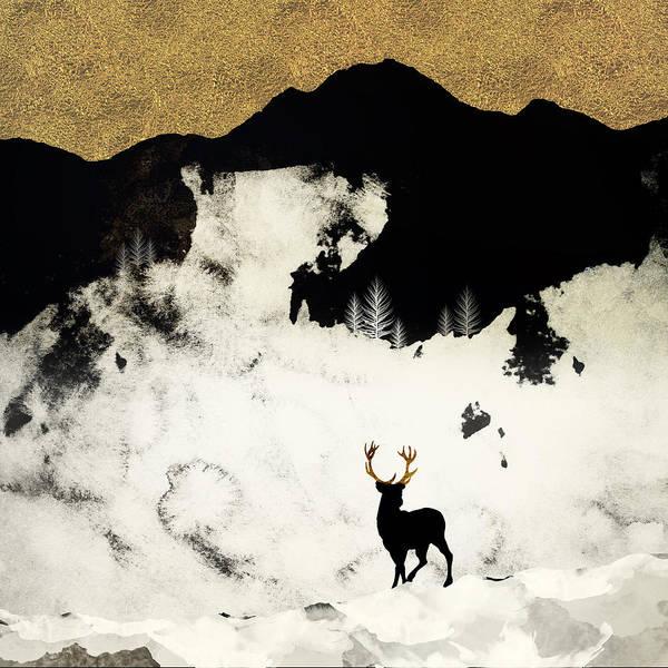 Black Buck Digital Art - Winter Silence by Spacefrog Designs