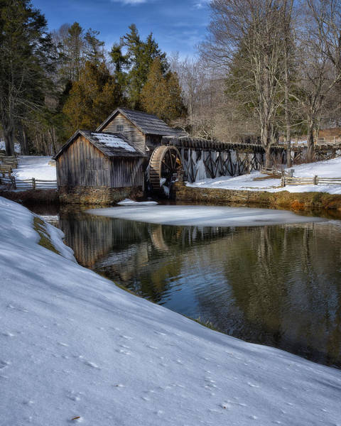 Water Wheel Wall Art - Photograph - Winter Snow At Mabry Mill by Steve Hurt
