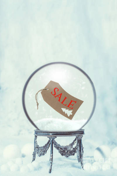 Ticket Photograph - Winter Snow Globe With Sale Swing Ticket by Amanda Elwell