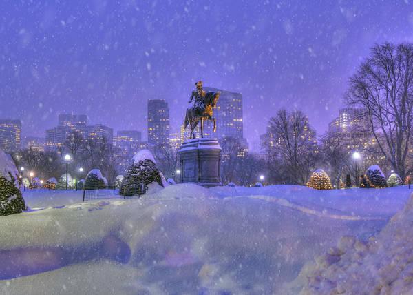 Photograph - Winter Snow In Boston Public Garden by Joann Vitali