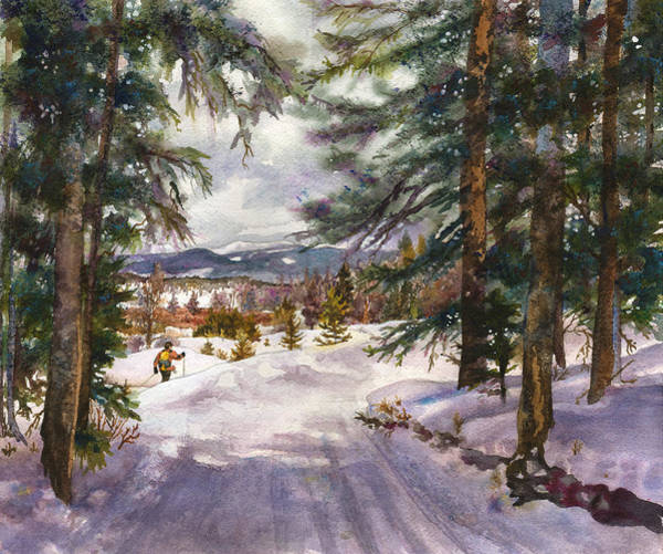 Mountain Trail Wall Art - Painting - Winter Solace by Anne Gifford