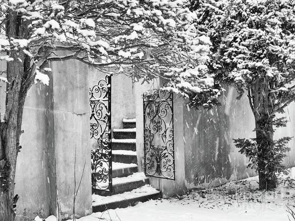 Winter Steps At The Vanderbilt In Centerport, Ny Art Print
