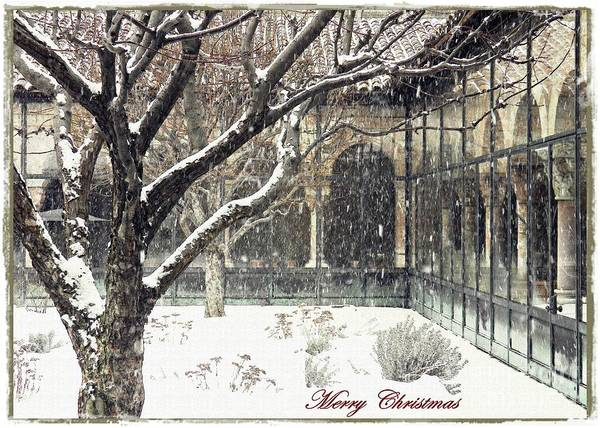 Cloister Photograph - Winter Storm At The Cloisters 3 Card 2 by Sarah Loft