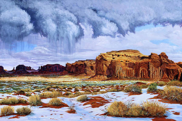 Wall Art - Painting - Winter Storm In Mystery Valley by Timithy L Gordon