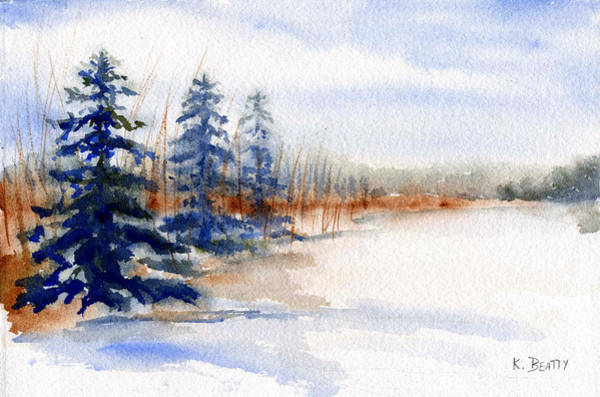 Winter Storm Watercolor Landscape Art Print