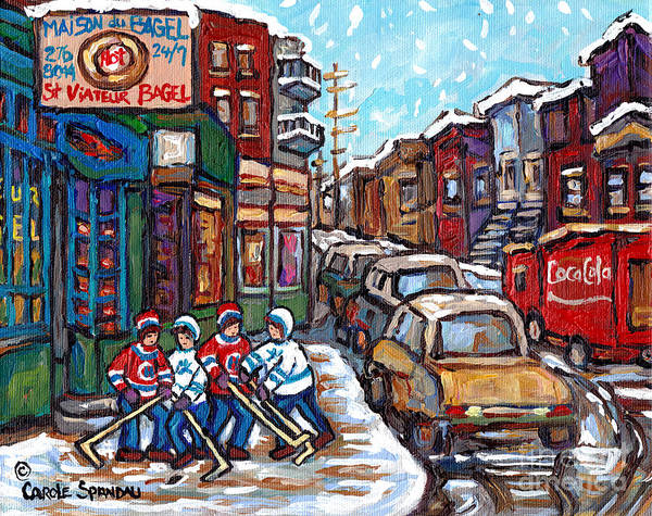 Painting - Winter Street Hockey Game Bagel Shop Coca Cola Truck Rue St Viateur Montreal Carole Spandau          by Carole Spandau