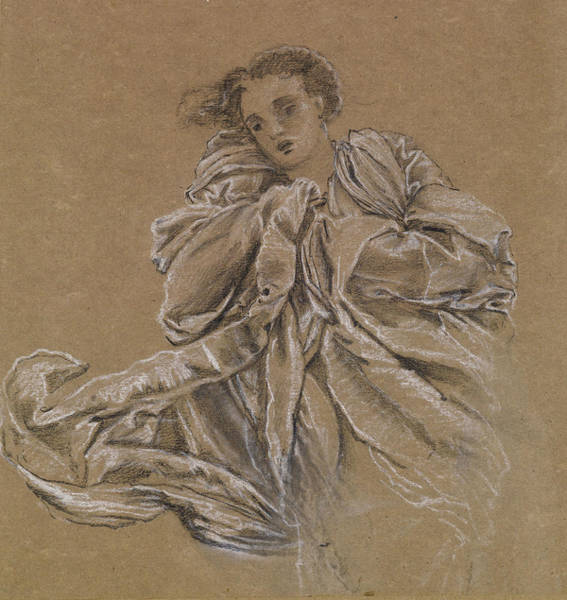 Drawing - Winter Study Of Flying Drapery by Edward Burne-Jones