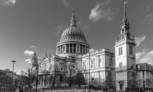 Photograph - Winter Sun St Paul's Cathedral Bw by Gary Eason
