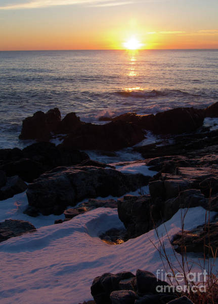 Photograph - Winter Sunrise, Maine Coast  -20907 by John Bald