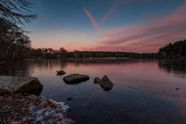 Photograph - Winter Sunset At Houghtons Pond In The Blue Hills Reservation by Brian MacLean