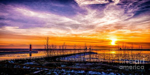 Relief - Winter Sunset At Muskegon Light by Nick Zelinsky