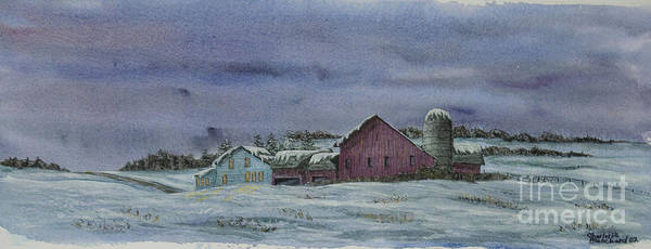 Barn Snow Painting - Winter Sunset by Charlotte Blanchard