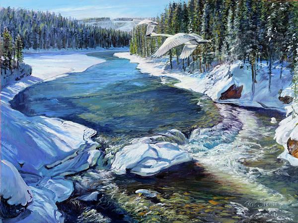 Trumpeter Swan Painting - Winter Swans by Steve Spencer