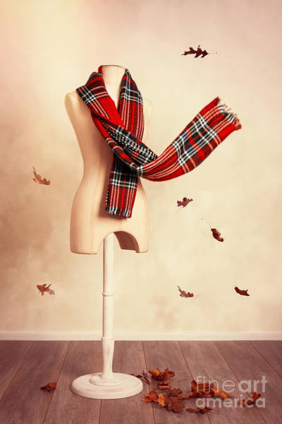 Dress Form Photograph - Winter Tartan Scarf With Fall Leaves by Amanda Elwell