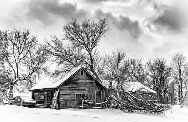 Shed Digital Art - Winter Thoughts 2 - Bw by Steve Harrington