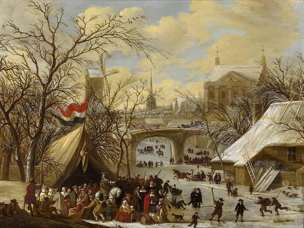 Figure Skating Painting - Winter Townscape With A Military Encampment And Figures Skating On The Frozen River by Gerrit Battem