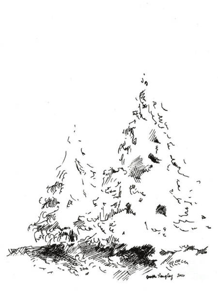 Drawing - Winter Trees 1 - 2016 by Joseph A Langley