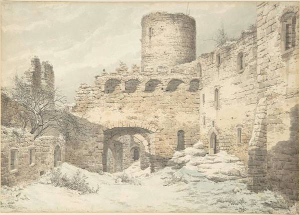 Painting - Winter View Of The Courtyard Of A Medieval Castle In Ruins , Julius Von Leypold by Artistic Panda